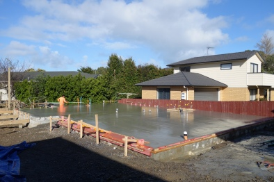 Concrete poured onto the slab